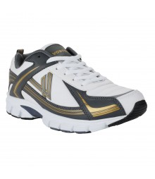 Vostro Dark Grey Gold Sports Shoes for Men - VSS0177